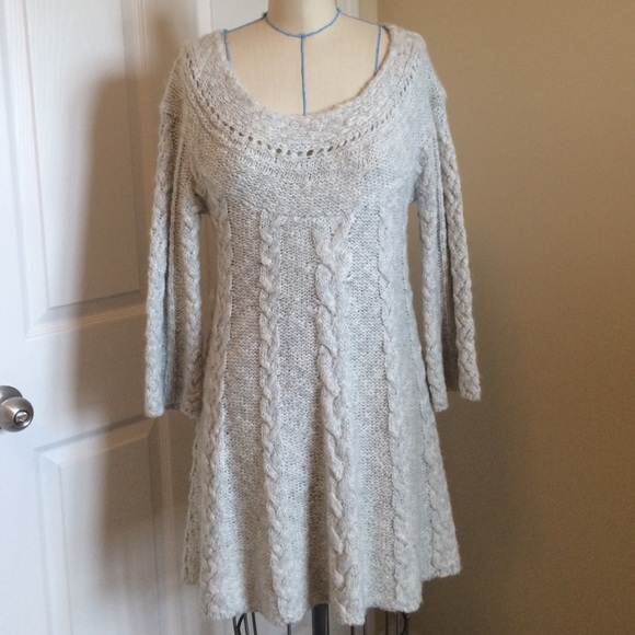 Free People Dresses Chunky Cable Knit Bell Sleeve Sweater Dress