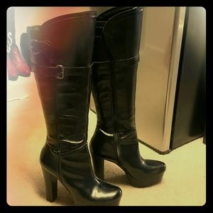 watch size 40 exclusive shoes Guess Shoes | Black Leather Platform Boots By | Poshmark