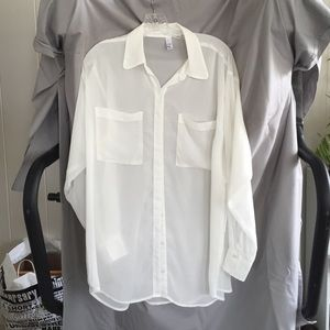 eff5336b American Apparel Tops - American Apparel sheer oversized button down shirt