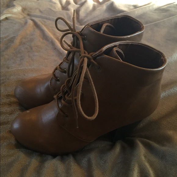56% off Charlotte Russe Shoes - Brown Leather Combat Boots w ...