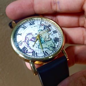 World map watch faux leather brown gold black whit