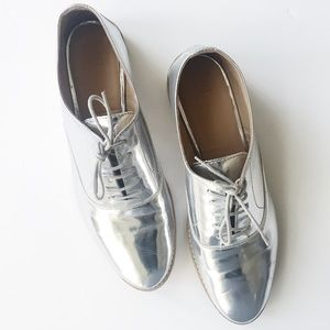 zara silver oxfords