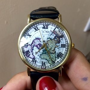 World map watch black gold leather faux white
