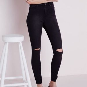 Missguided Pants - Mid Waisted Black Ripped Skinny Jeans