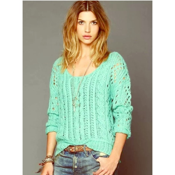 75% off Free People Sweaters - Free People Mint Green Fluff Knit ...