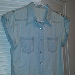 Light denim tunic top