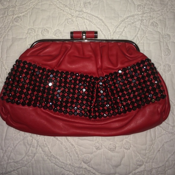 ⬇️ Red and black bling clutch