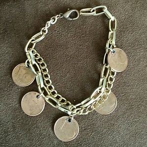 European coin bracelet. Handmade