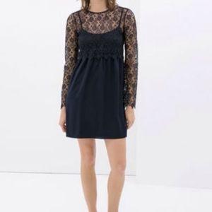 Zara Dresses & Skirts - Zara crochet navy blue dress long sleeve