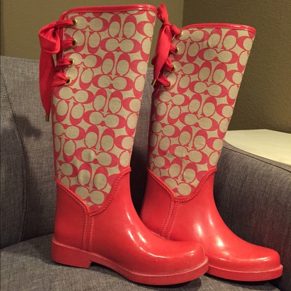 65% off Coach Boots - Coach tristee pink coral bow rain boots tie ...
