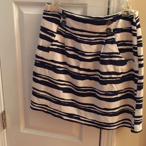 Navy and white cotton lined skirt