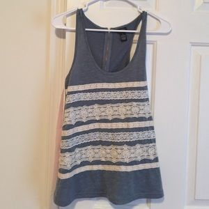 Rue21 Tops - Lace detail blue chambray tank