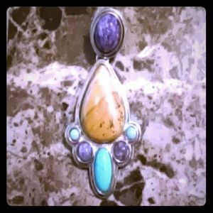 Jewelry - Sterling Picture Jasper Turquoise Charoite Pendant