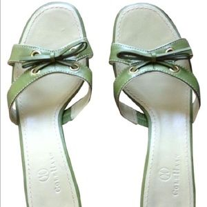 Like new COLE Haan green leather slide sandals 8 B