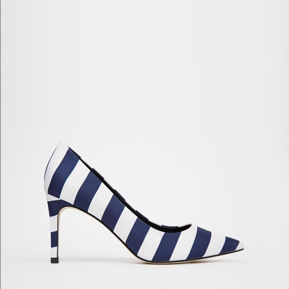 Asos Blue And White Striped Pointed Toe