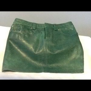 alice + olivia Green Leather Skirt Size 0