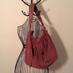 lucky brand red suede purse