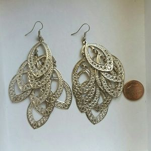 Dangle earrings, light Gold-colored leaf-shaped
