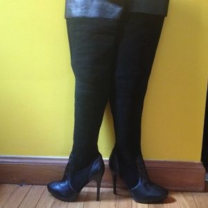 80 colin stuart shoes black leather and suede thigh