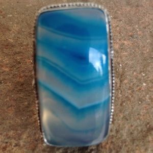 Jewelry - Huge blue laced Onyx 925 Ring