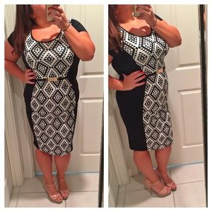 RESERVED Black and white midi dress