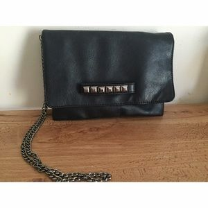 Faux black leather studded cross body bag