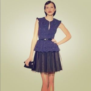 New Kate Young Tulle Peplum Dress