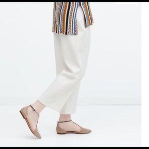 Zara Black Ankle Strap Flats