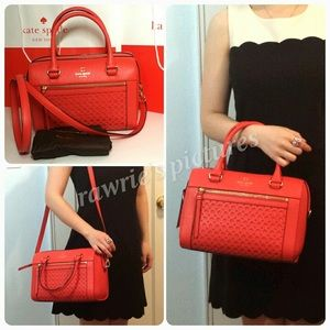 New Kate Spade red leather crossbody Satchel