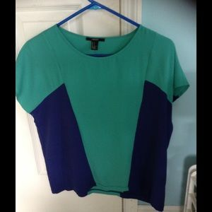 Color Block blue and green top