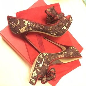 Valentino Couture Bow Lace Shoes in Wine NEW