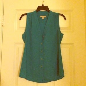 Teal blouse banana republic