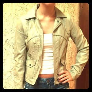 Faux leather tan jacket size S