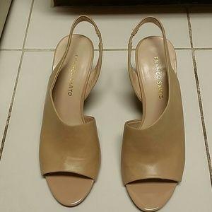 Franco Sarto peep toe mules wedges nude tan 8