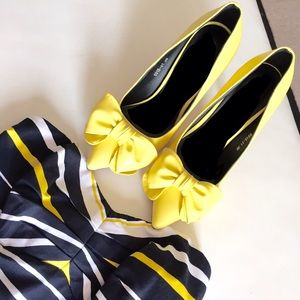 Yellow bow cute pumps