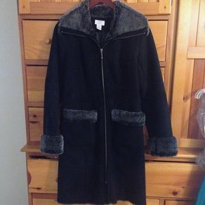 Loft Black Faux Shearling Coat
