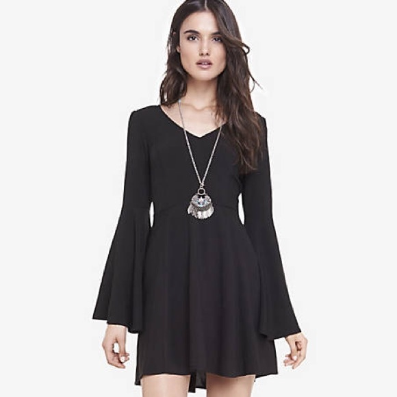 Express Dresses Black Bell Sleeve Fit And Flare Dress 10 Poshmark