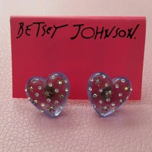 NWT BETSEY JOHNSON BLUE STUD EARRINGS