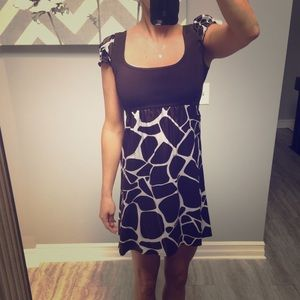 Bebe giraffe print summer dress brown small