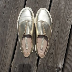 Metallic gold Zara slip on shoes