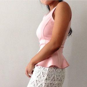 Tops - Baby pink peplum sleeveless top S