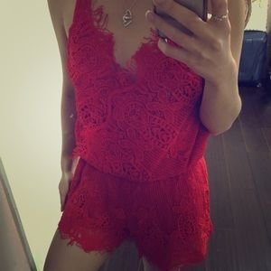 Dresses & Skirts - Red Lace Romper