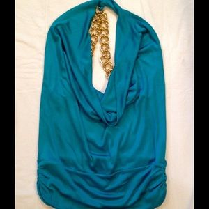Teal and gold halter top