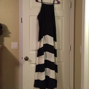 Beautiful long black dress with white stripes