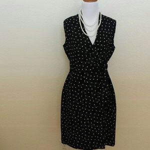 🎉HP 11/2🎉Black and  ivory polkadot wrap dress