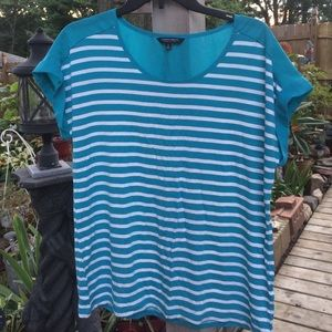 Christian Siriano Tops - Christian Siriano blue striped shirt size large