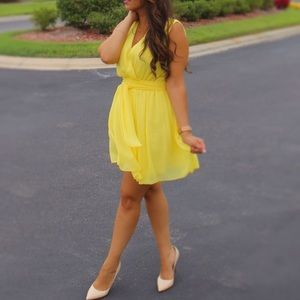 Yellow chiffon dress