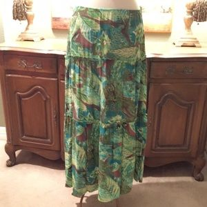 Turquoise/Brown/Blue/Green skirt.