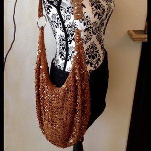 Bronze brown sequin satchel purse
