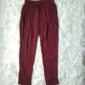 Pants - Oxblood Chiffon Drawstring Cuffed Trousers